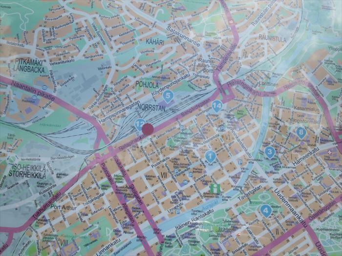 トゥルク駅周辺の地図
