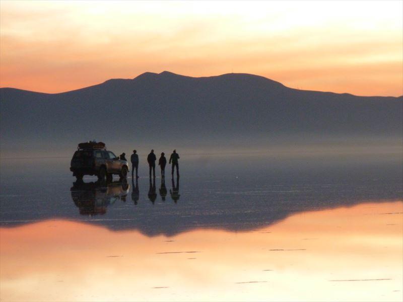 ウユニ塩湖にて