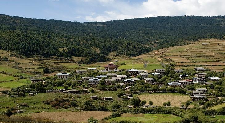 ブムタン谷ウラ村の風景