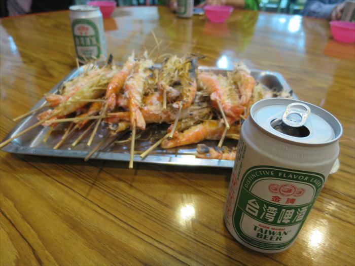 焼いた海老とビール