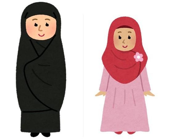 イラン チャドルとヒジャブのイラスト
