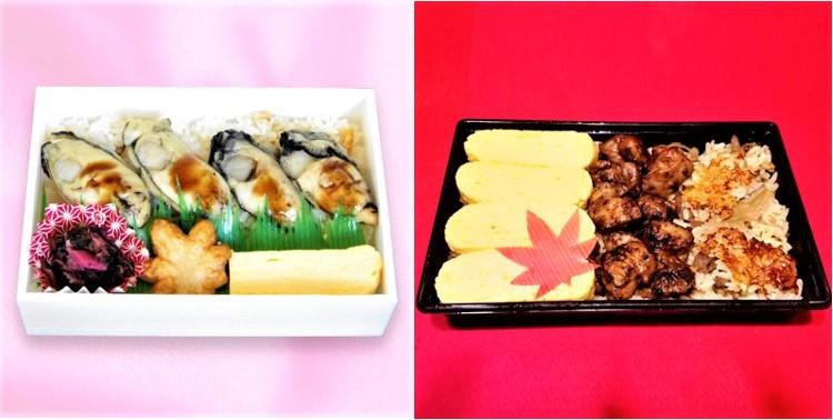 東急百貨店 当地人気店と名店の味 広島のかきあぶりめし(左)、ご炙り鶏だし巻き弁当(右)