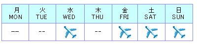 フライトスケジュール(コロンボ-成田)